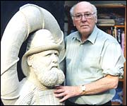 Richard Sefton with his sculpture of Henry Freeman