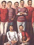 Close up view of a illistrated poster showing leading English football players, 1881