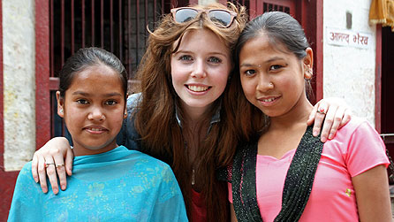 Stacey Dooley with Santi (left) and Santoshi (right), working kamlari girls in Kathmandu (image: Ricochet)
