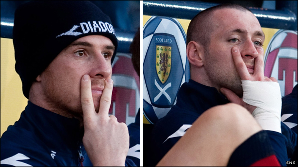 Barry Ferguson and Allan McGregor at Hampden on Wednesday night