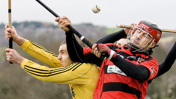Aerial combat between Inveraray's Douglas Dando and John Barr of Glenurquhart during the Orion Premiership game at Blairbeg. Photo: Neil Paterson