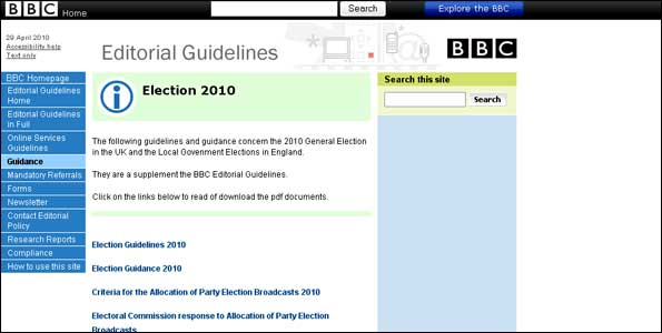 BBC election guidance online