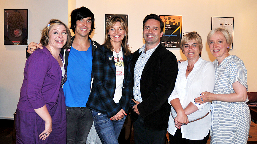 Photograph from the recording of Swots episode 2, June 2010. Left to right: Julie Coombe, Russell Kane, Jo Caulfield, Phil Nichol, Susan Morrison Janice Forsyth and Phil Nichol.