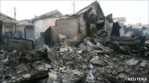 Destroyed houses are seen after they were hit by artillery shells fired by North Korea on Yeonpyeong Island.