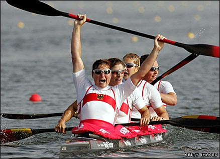 Germany's Birgit Fischer (front) wins her eighth kayak gold medal at the 2004 Athens Games