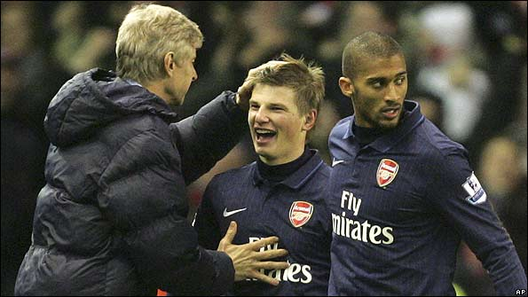 Arsene Wenger, Andrey Arshavin and Armand Traore