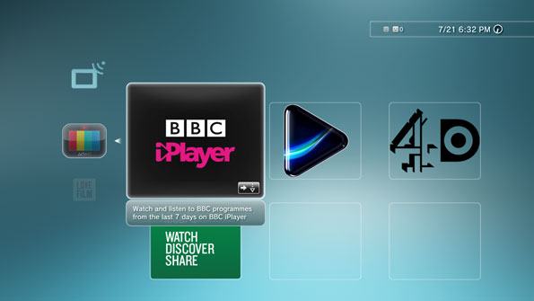 screengrab showing large iPlayer icon amongst others