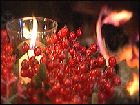 The colour of Christmas: cranberries and a candle (from BBC East Midlands Today)
