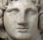 A marble bust (head-sculpture) of Alexander the Great. His armies marched from Greece as far east as India.