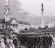 Period drawing showing a procession of men in dark coats and top hats leaving the Assembly