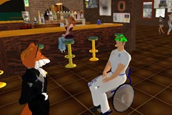 A bar in virtual world Second Life. Copyright 2007, Linden Research, Inc. All Rights Reserved