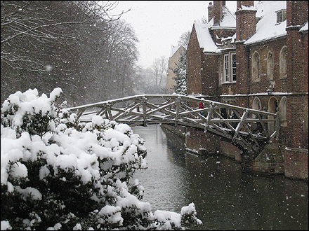 Winter in cambridgeshire 2009 the mathematical bridge spanning the