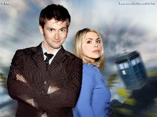 The Doctor and Rose Tyler outside the Tardis
