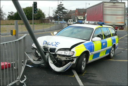 Police car crash in Belmont, Hereford