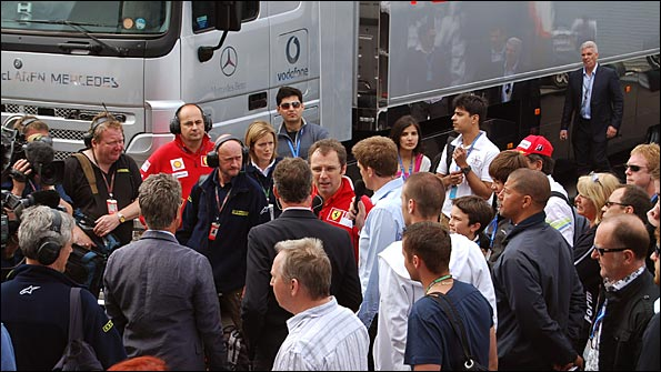 We're are in there somewhere... with Stefano Domenicali of Ferrari!