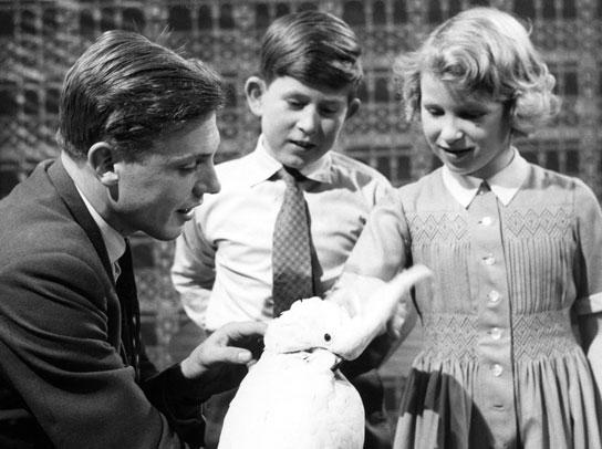 David Attenborough with Prince Charles, Princess Anne and his pet cockatoo.