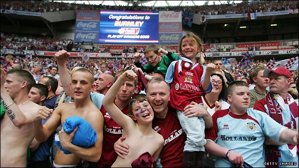 Burnley fans celebrate winning promotion
