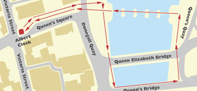 Map showing the location of Custom House Square