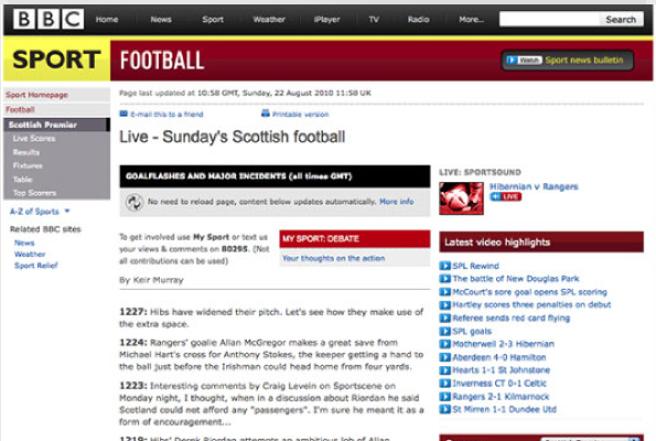 Live Football page screenshot