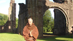 Derek dressed as a monk at Llanthony Priory