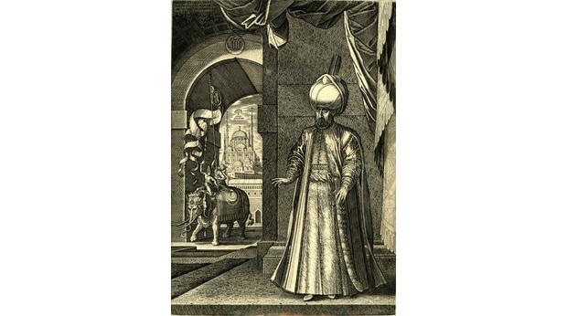 Print of Sultan Suleiman the Magnificent from 1559. Copyright Trustees of the British Museum