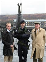 Peter Hennessy with producer Richard Knight on one of the UKs Trident submarines