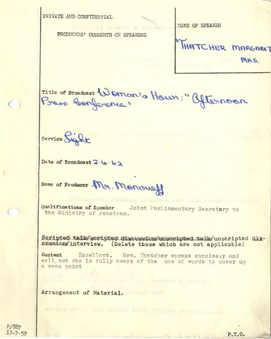 Production notes about Margaret Thatcher in 1962.