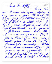 A letter from actor Bill Pertwee.