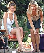 Picture: Louise and Holly play lawn darts on the CBBC decking