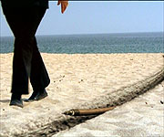 CGI showing a cable laid under the sand