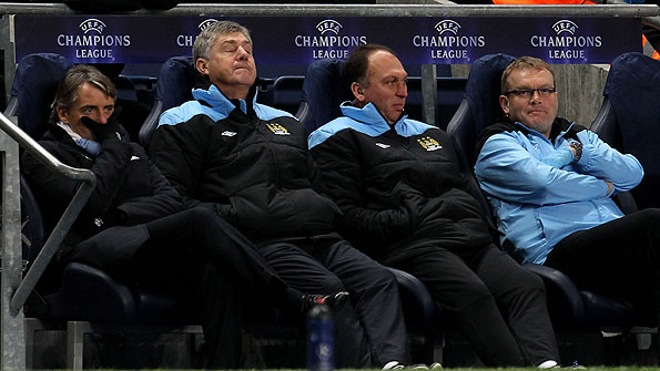 Manchester City boss Roberto Mancini issues instructions from the sidelines at Wembley