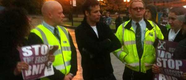 Richard Bacon and anti-BNP protesters in Hull