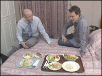 Jim Francis and Morland Sanders with hotel food