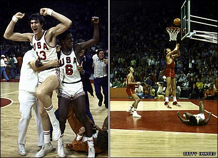 USA basketball players celebrate victory prematurely (left), while the USSR's Alexander Belov scores the winning basket in the 1972 Olympic final in Munich