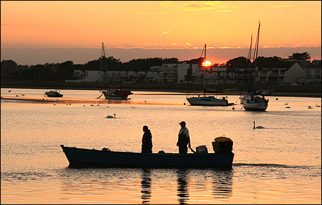 Fisherman at sunset, Mudeford Quay - Dave Cox