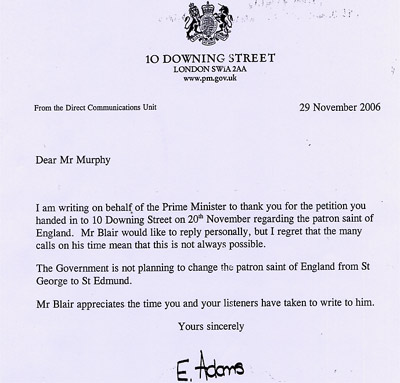 Letter from 10 Downing Street