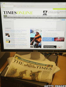 The online and paper versions of the Times