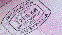 Australian immigration passport stamp