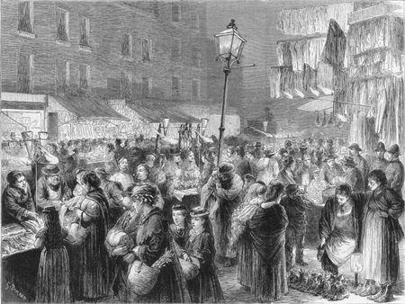 Drawing of the London poor at Christmas time
