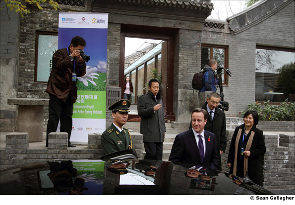 British Prime Minister David Cameron in the hutongs of central Beijing