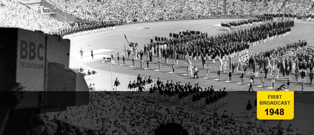 The opening ceremony of the 1948 Olympic Games at the Empire Stadium, Wembley.