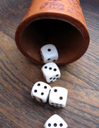 Dice rolled showing up different numbers. They add up to 13