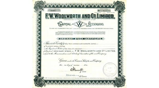 Share Certificate from F. W. Woolworth