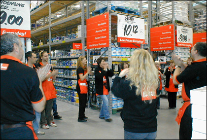 B and Q Hereford staff doing the Hokey Cokey