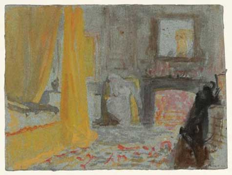 A Bedroom with a Fire Burning, and a Bed with Yellow Curtains by J.M.W. Turner