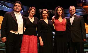 The 2005 finalists, from left: Luis Olivares Sandoval, Wendy Dawn Thompson, Daria Masiero, Nicole Cabell and Andrew Kennedy. (Image - Brian Tarr)