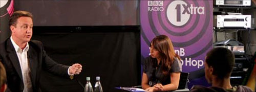 David Cameron with Tulip Mazumdar and radio 1 audience
