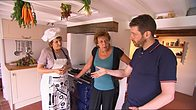 Dave Gorman at home with Maggie and Trish