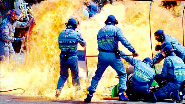 Jos Verstappen's Benetton catches fire in the pits at the 1994 German Grand Prix