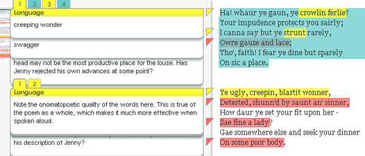 screen grab from booknotes application